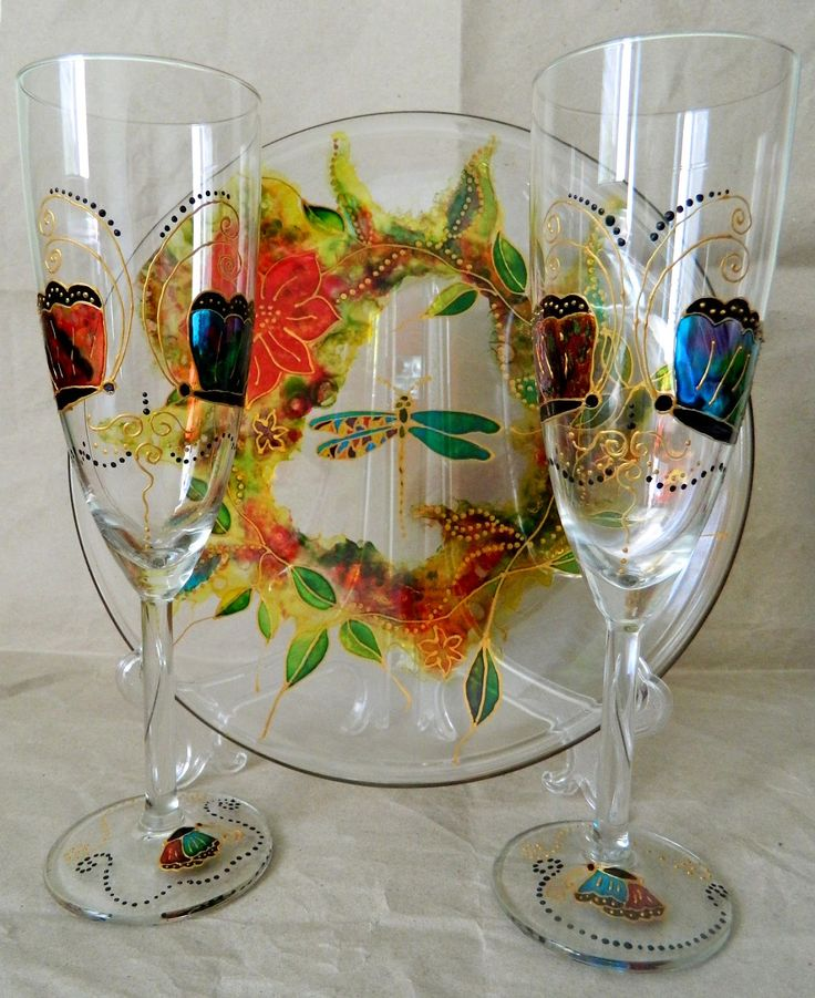 Dragon fly serving dish with champagne flutes with butterflies, hand painted by Handmade Sister (www.handmadesister.blogspot.com)