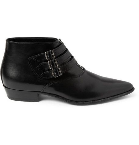 Saint Laurent Buckled Leather Ankle Boots | MR PORTER