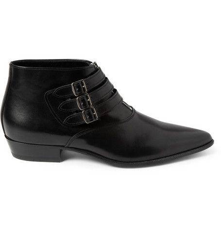 Saint Laurent Buckled Leather Ankle Boots   MR PORTER