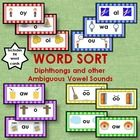 The word sorts in this 5-part product are for diphthongs and other ambiguous sounds in the word pattern stage. Included in this product are: * Headers with pictures for wa, al, and ou, along with 18 corresponding word cards and a student recording sheet with a key. * Headers with pictures for oo and oo, along with 20 corresponding word cards and 2 student recording sheets with a key. * Headers with pictures for ou and ow, along with 20 corresponding word cards and 2 student ...