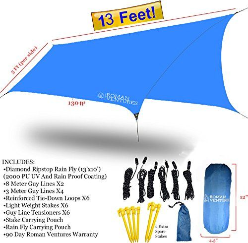 HAMMOCK RAIN FLY TENT TARP Waterproof Camping Shelter. Lightweight RIPSTOP NYLON & Not Cheap Polyester. Stakes Included. (Dark Blue). For product & price info go to:  https://all4hiking.com/products/hammock-rain-fly-tent-tarp-waterproof-camping-shelter-lightweight-ripstop-nylon-not-cheap-polyester-stakes-included-dark-blue/