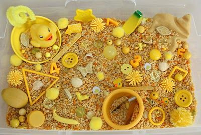 yellow sensory bin, explore the colors