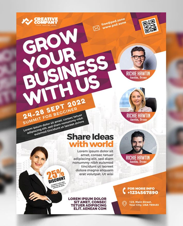 Free Download Attractive Business Conference Flyer Psd Template