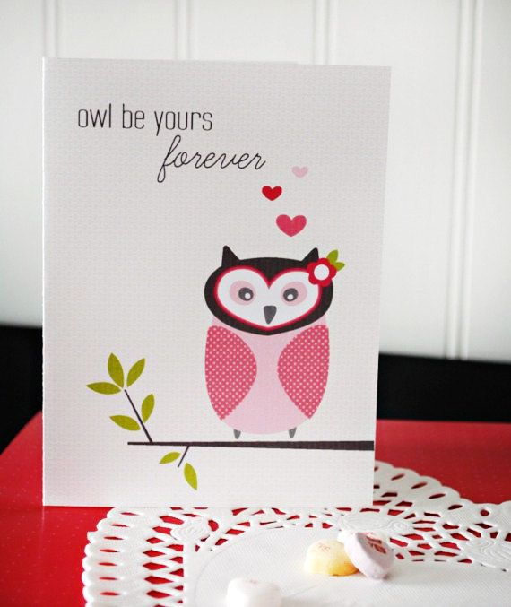 Owls are so cute. Valentines Day Card.