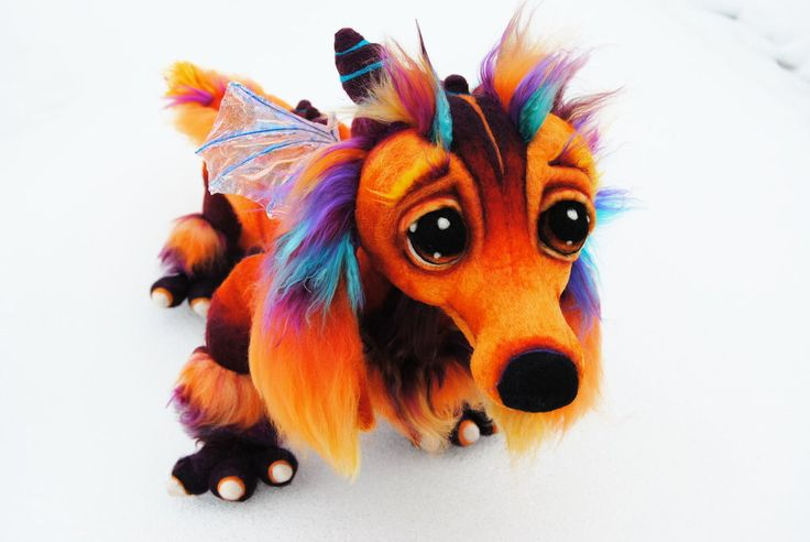 Needle Felted Lifesize Dachshund Fire Dragon by ~Tanglewood-Thicket on deviantART