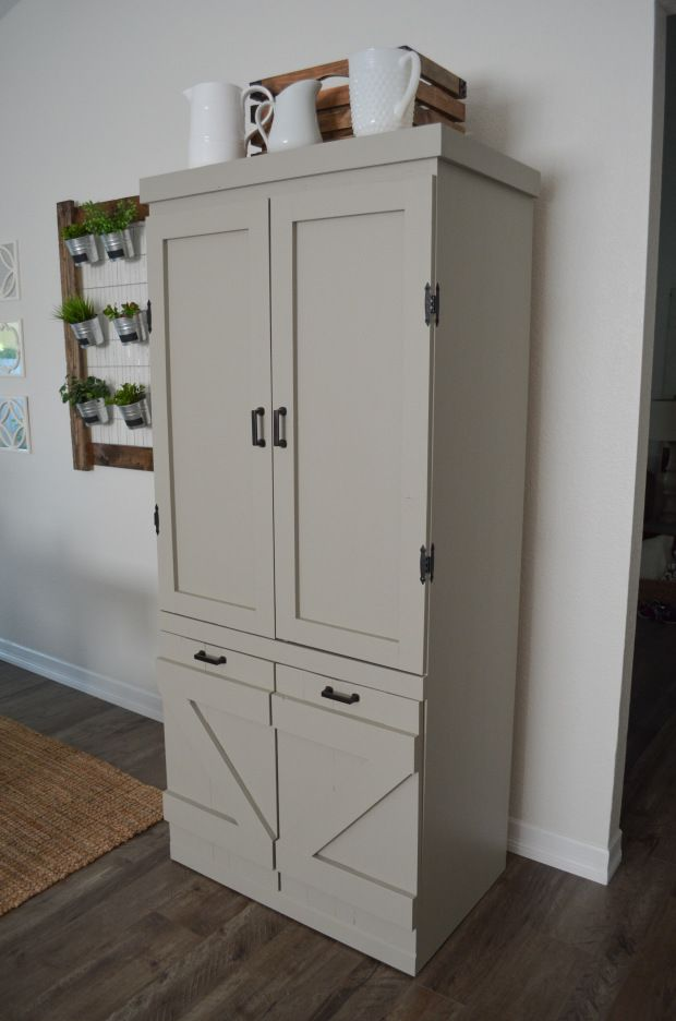 DIY Gray Farmhouse Pantry – Farm Fresh Homestead-Sherwin Williams Intellectual Gray (the perfect earthy gray)