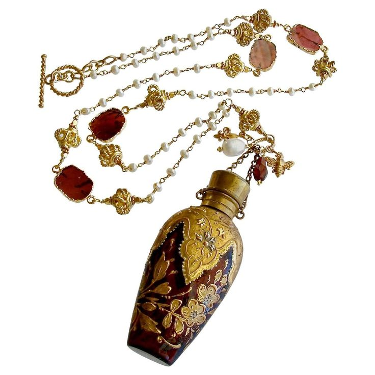 Gilt Embossed Garnet Red Moser Chatelaine Scent Bottle Necklace | From a unique collection of vintage pendant necklaces at https://www.1stdibs.com/jewelry/necklaces/pendant-necklaces/