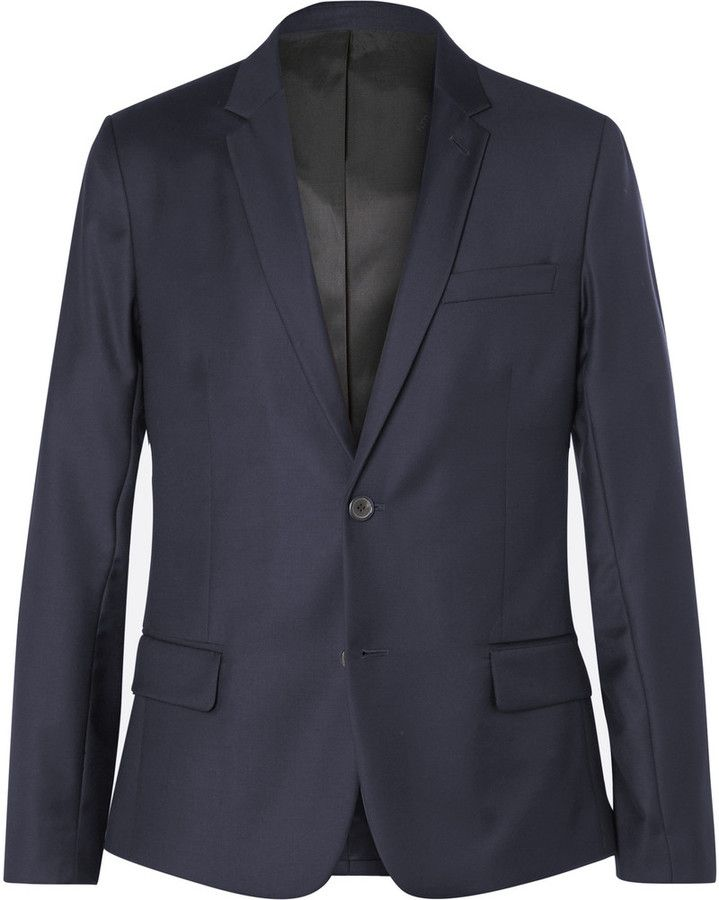 AMI Blue Wool-Twill Blazer