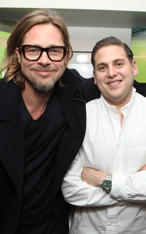 Hey Brad Pitt, is that you? He is back in promotional mode with co-star Jonah Hill at a Columbia Pictures screening and G for 'Moneyball.' Pitt is freshly 48-years-old and is starting to look his actual age…