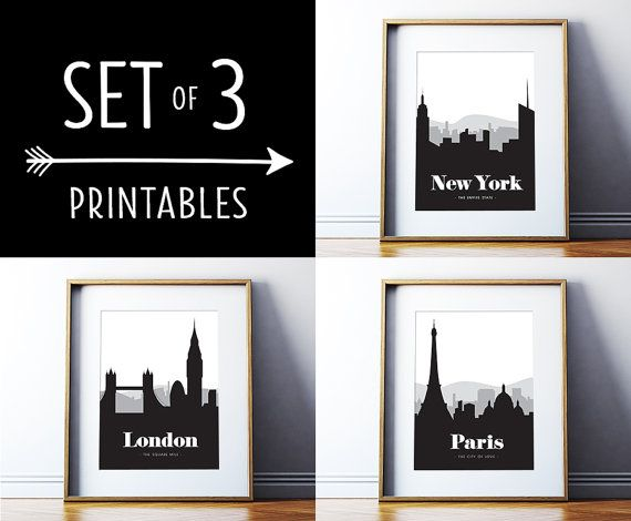 Wall Art Decor Posters : Set of printables new york paris london black and