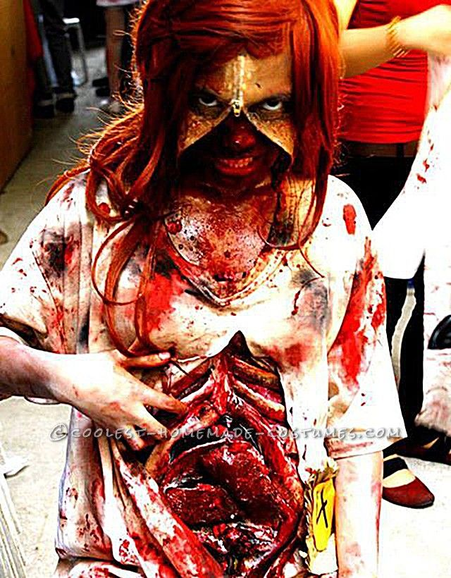 grotesque zombie costume with bloody stomach and a zipper face - Bloody Halloween Masks