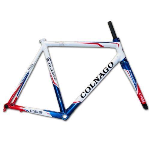 Colnago-C59-Italia-de-carretera-de-carbono-Bicicleta-Marco-45cm-vertiente-Blanco-Rojo-Azul