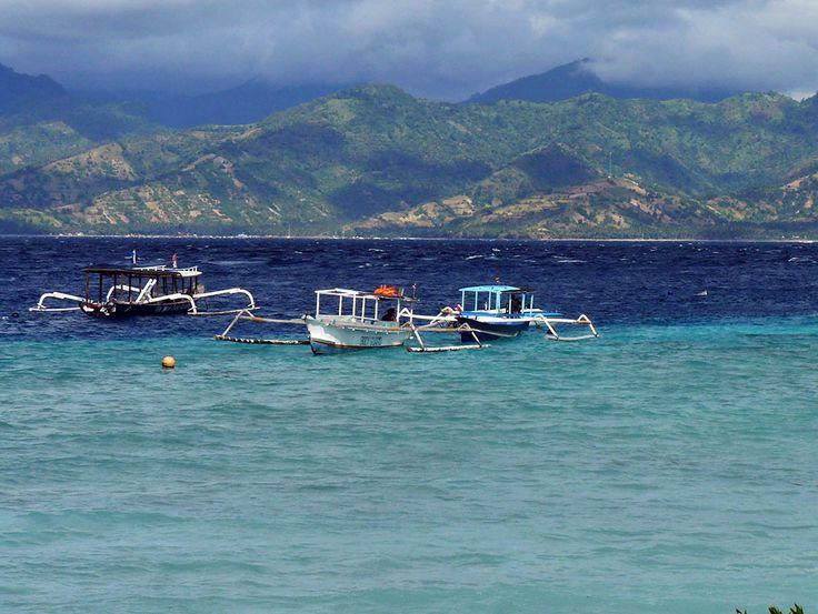 Vue Sur Lombok Depuis Giliair Indonesie