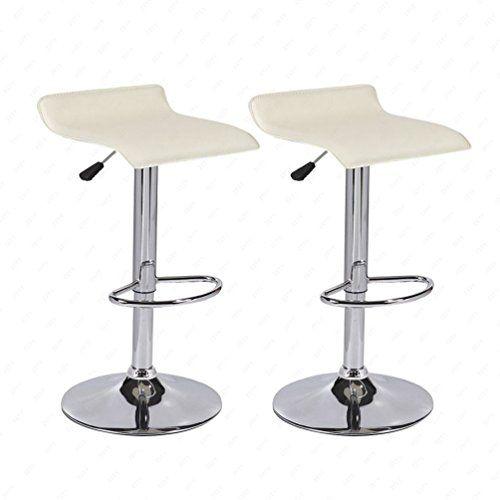 Set of 2 Swivel Chrome Base Pub Bar Stools Dinning Kitchen Chair Black & Cream