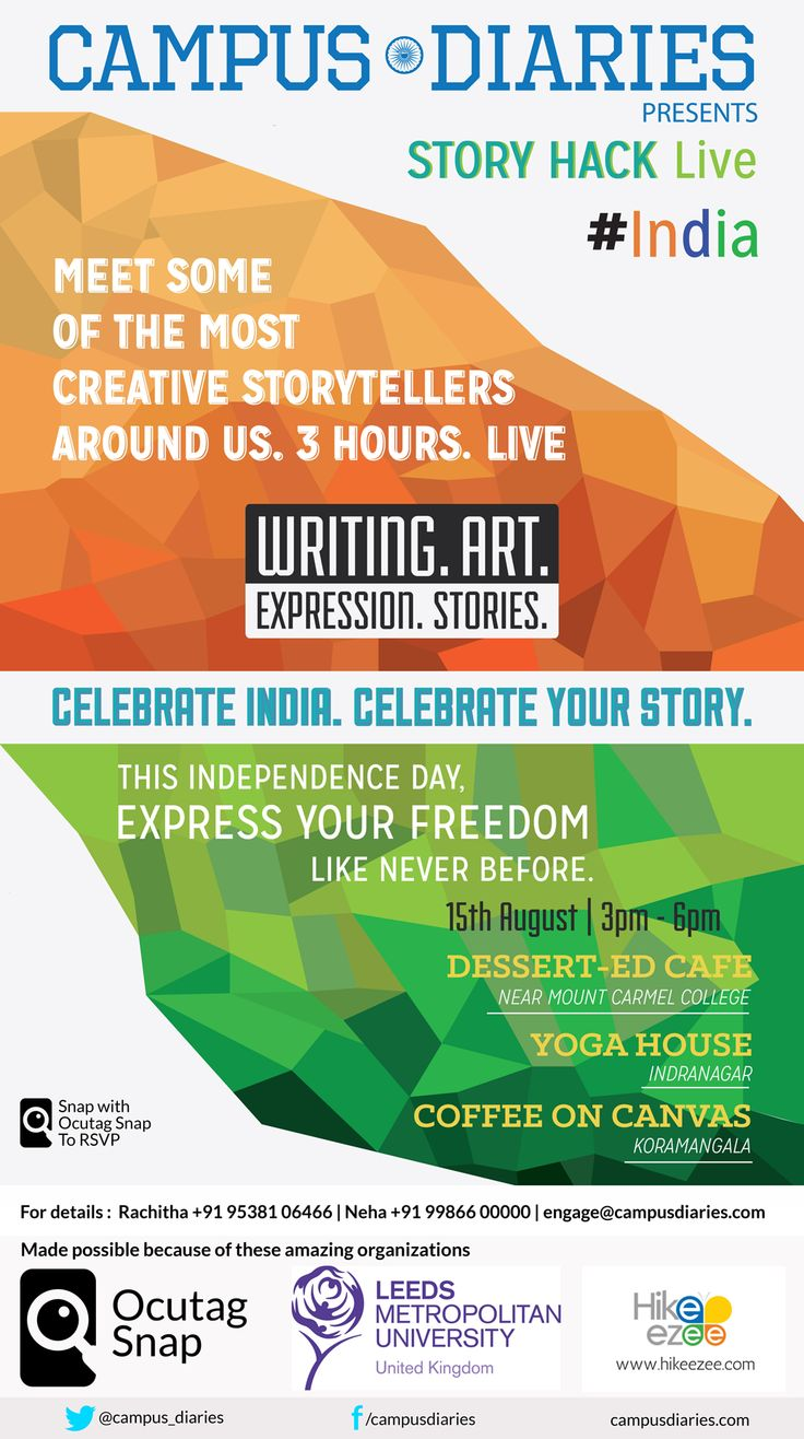 B.PAC celebrating #IndependenceDay with Campus Diaries 4 B.PAC members - Mr. Harish Narasappa, Mrs.Vani Ganapathy, Mrs. Sujatha and Mrs Revathy Ashok are invited to speak at Story Hack Live #India about B.PAC and the work done by B.PAC in Bangalore