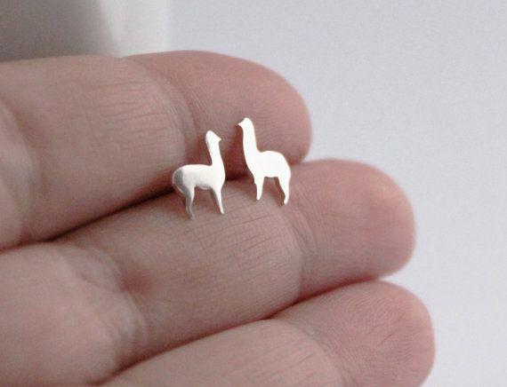 Llama Studs, Cute Handmade Sterling Silver Llama / Alpaca Animal Earrings #llama #studs