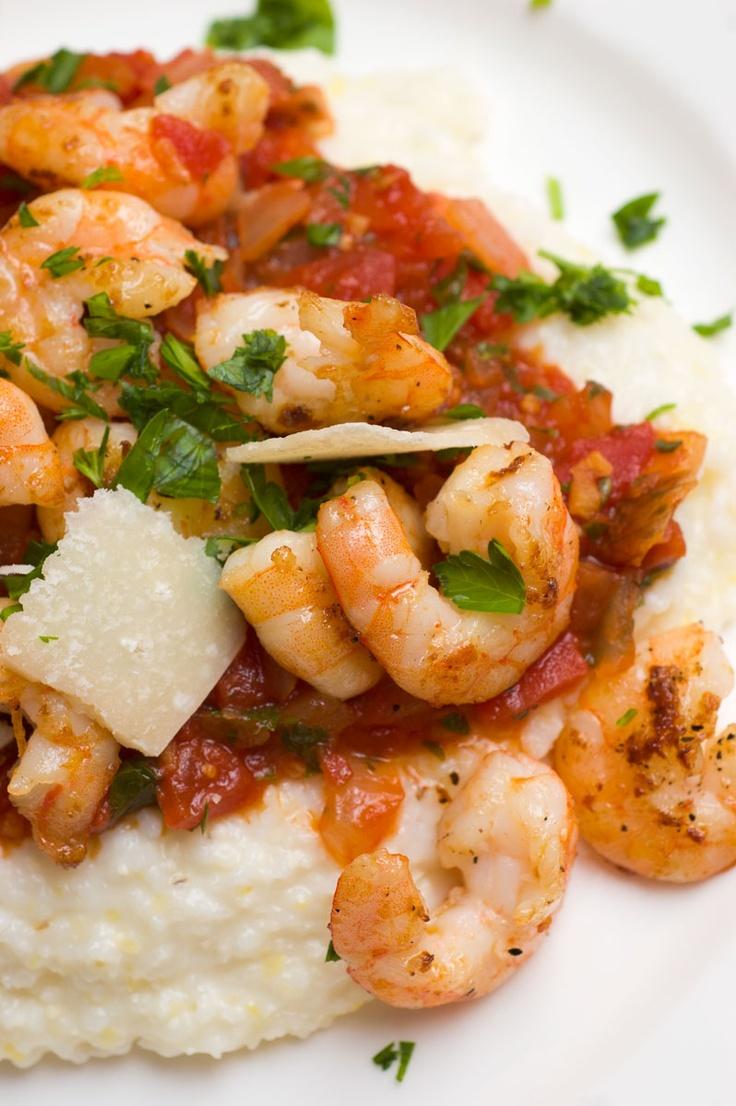 Shrimp with Parmigiano Reggiano Grits & Tomatoes - Virginia Willis