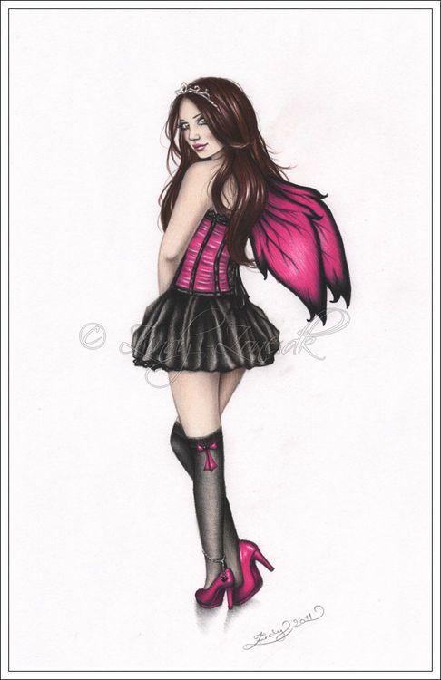 Zindy Zone Dk Pin Up Drawings Pink Fairy Pinup Pin