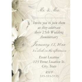 White Flowers 25th Wedding Anniversary Invitations Invitation 25th