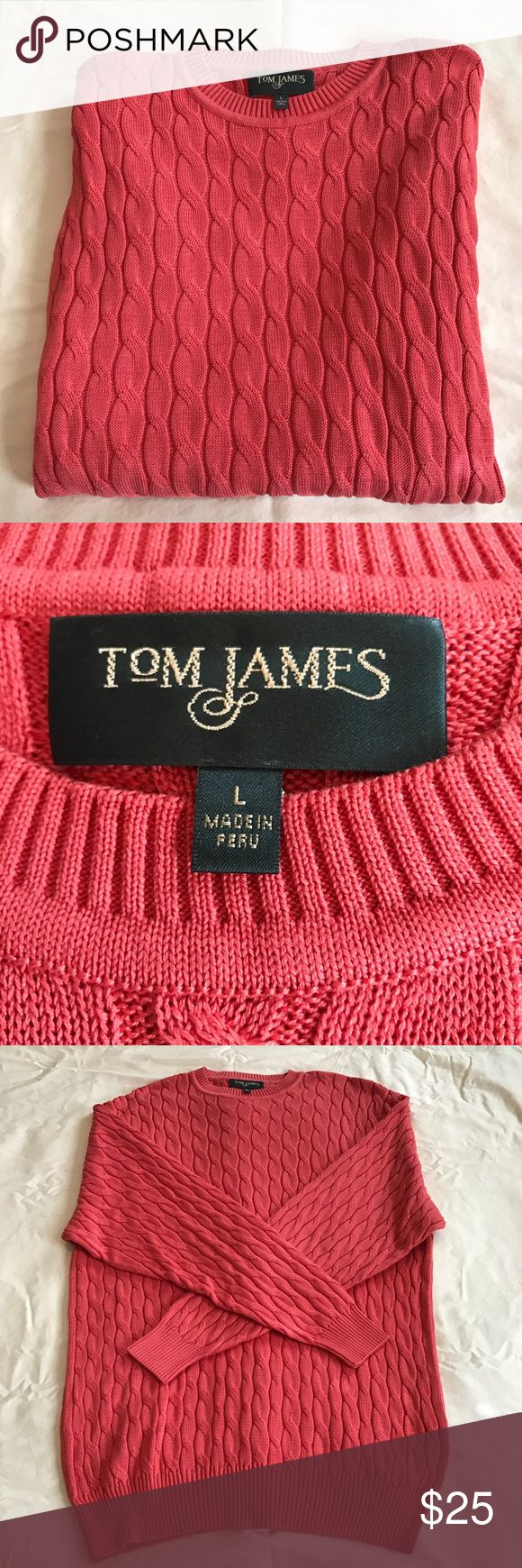 Men's pullover sweater Beautiful pullover sweater long sleeve 100% mercerized Pima cotton like new coral color Tom James Clothing Sweaters Cardigan