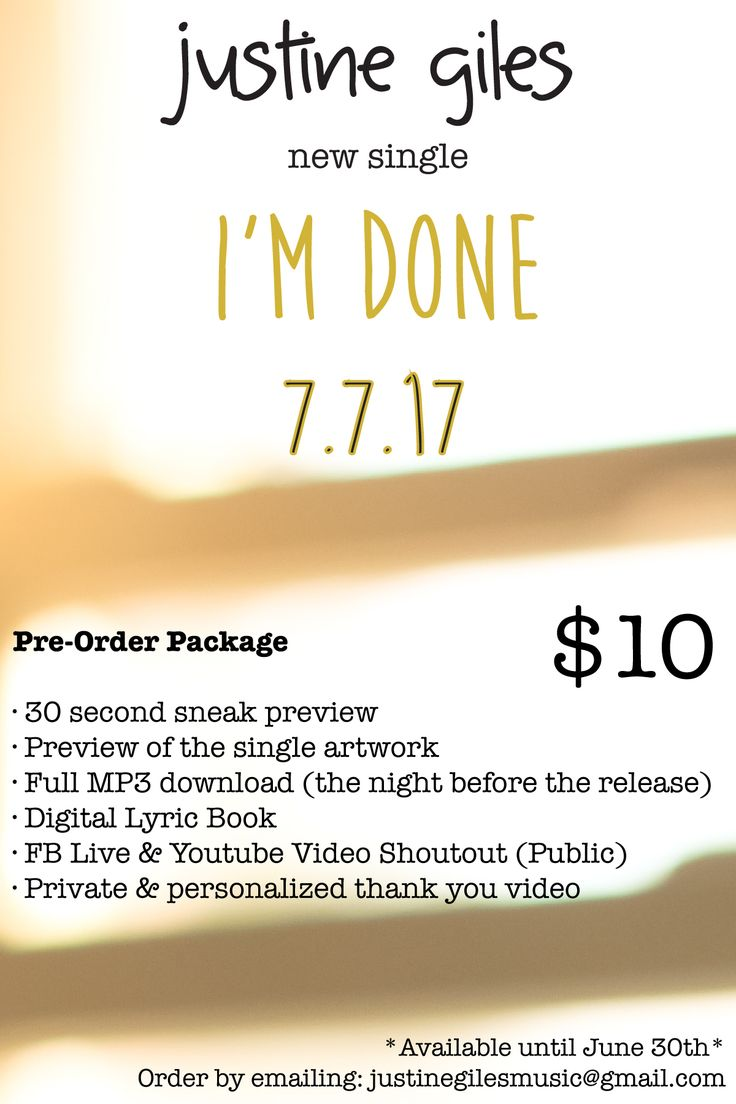 "New single ""I'm Done"" dropping July 7th worldwide on all online retailers for $1! Had the honor of recording this in Toronto with my amazing producer Bill Bell!  If you'd like to hear a preview of the song right NOW before anyone else, that's part of my pre-order package which is only available until June 30th! Email justinegilesmusic@gmail.com to order"