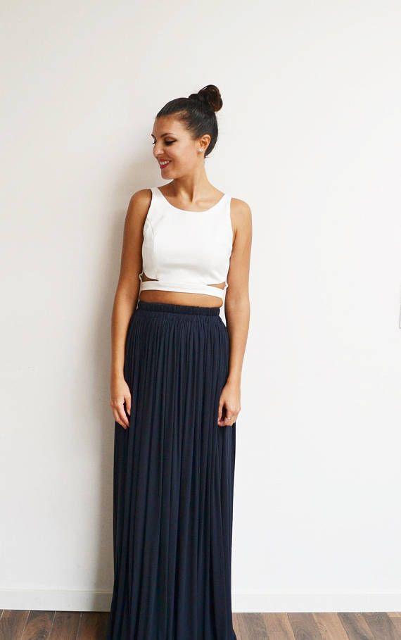 jupe longue bleu marine taille haute pliss e fluide boh me. Black Bedroom Furniture Sets. Home Design Ideas