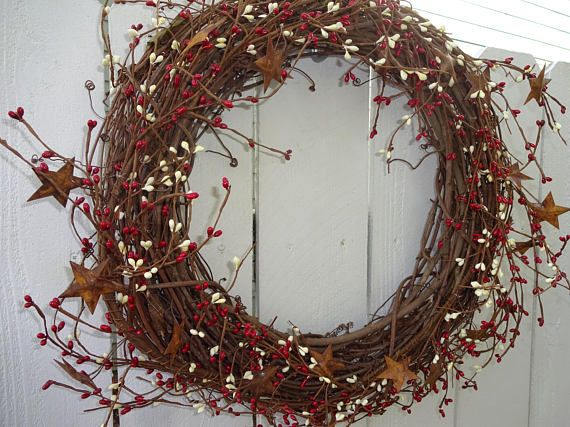 Primitive Wreath   4th Of July   Rusty Star Wreath  Primitive Decoration  Pip Berry Wreath  Independence Day Wreath  Door Wreath  Gift