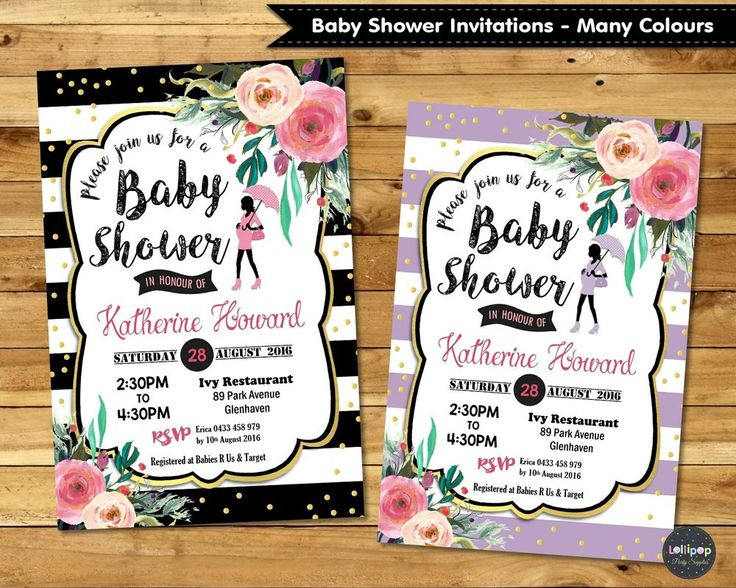 FLORAL BABY SHOWER PARTY INVITATION INVITE PERSONALISED GIRL BOY FLOWER GOLD   #CUSTOMINVITATION #BabyShower