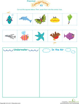 Worksheets: Cut and Categorize #3 animals in water or in the sky---use with the days of Creation (Day 5: fish and birds)