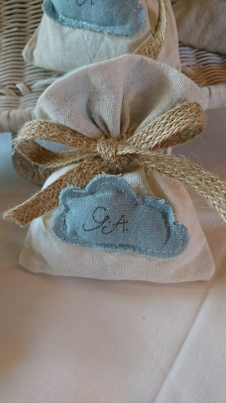 Amazing favour for boys baptism with handwritten initials and linen pouch