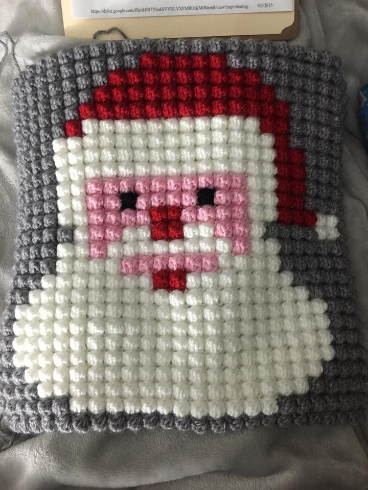 Christmas Character Afghan using Bobble Stitch ..... Square was made by Christina Dodson https://www.facebook.com/photo.php?fbid=1023919344306637&set=o.316659841846715&type=1&theater