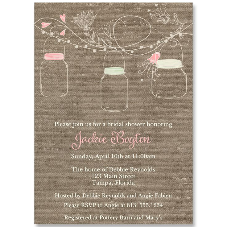 Hanging Mason Jars Bridal Shower Invitation 22