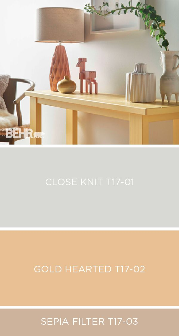 Explore BEHR's collection of 2017 Color Currents to find the color palette that perfectly fits your unique sense of style. This pastel palette uses light shades like Close Knit, Gold Hearted, and Sepia Filter to bring in tons of natural lighting that would make any room feel large and open.