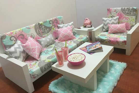 Living Room Set for American Girl and other 18 dolls. Includes couch, chair, end table, coffee table, and rug. If different color pillows or rug