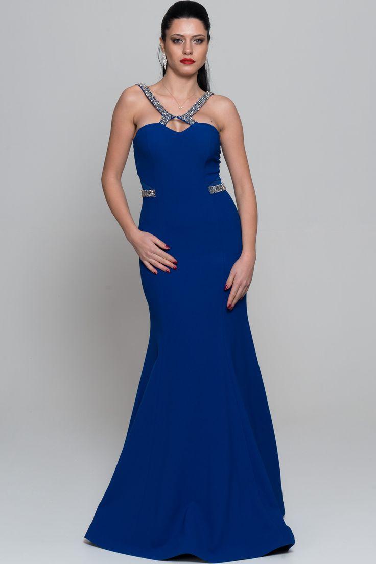 Uzun Saks Mavi Taş İşlemeli Balık Abiye GG6851
