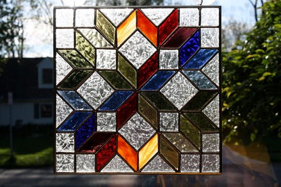 Stained Glass Sun Catcher Amish Carpenter S Wheel Quilt Block Stained Glass Quilt Stained Glass Diy Glass Art Pictures
