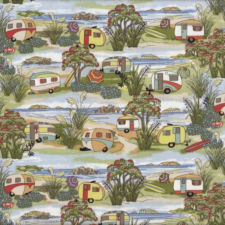 Retro Caravans Holiday Beach Landscape New Zealand NZ Quilt Fabric - Find a Fabric. Available to purchase in Fat Quarters, Half Metre, 3/4 Metre, 1 Metre and so on.