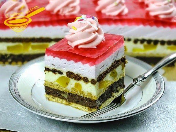 Delikatne, kolorowe, bez otwierania piekarnika, bardzo nam smakowało :)  Ciasto podałam na pięknych talerzach z Porcelany Bogucice .        ...