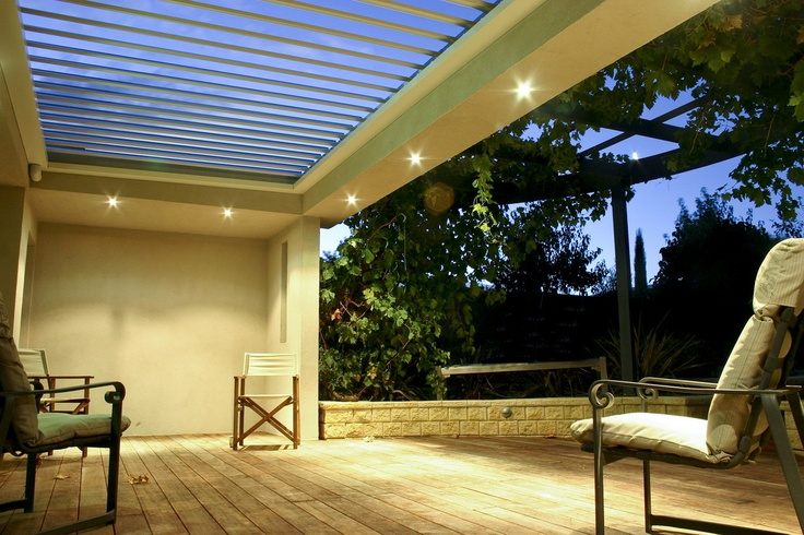 Louvre roof for alfresco area. Adjust to let the winter sun in and warm up your house or close shut to block out the sun in summer.