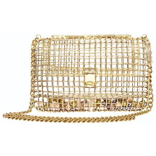 Anndra Neen Pearl Cage Bag (12.248.490 IDR) ❤ liked on Polyvore featuring bags, handbags, clutches, gold, pearl handbag, pearl clutches, anndra neen and pearl purse