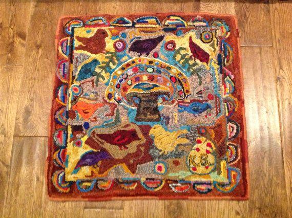 Folk Art Primitive Hooked Rug Magdalena Briners Adaption Rug Hooking SALE  Great Price