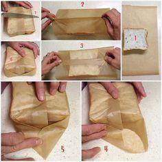 包んで切ればくずれない♪ 具だくさんサンドのつつみかた  1 ワックスペーパーのサイズはこれくらい  真ん中にサンドイッチを置きます  2 ワックスペーパーの手前と奥の縁を持ち上げて合わせ  3 一緒に2回ほど折りたたんでゆるみのないぴったりサイズに  4 パンの上側のペーパーを下に折ってからサイドを斜めに折り込む  5 反対側も  6 三角部分を底っていうか裏側に折り込む もう一方も同様に  7 よく切れる包丁でカット♪  #キングジョージ  のサンドイッチの写真を見てこうやって包んでいるんじゃないかなー?って真似してみました。  #わんぱくサンド