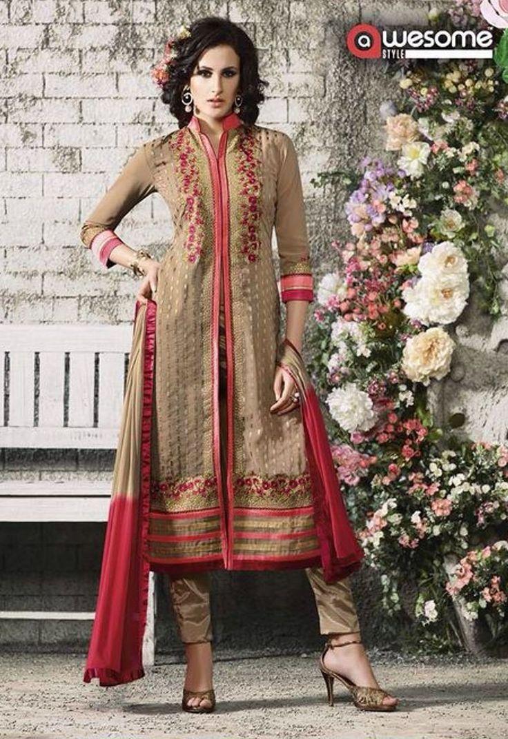 Designer salwar kameez mesmeric peach color net designer suit - Beige Colour Georgette Designer Salwar Kameez