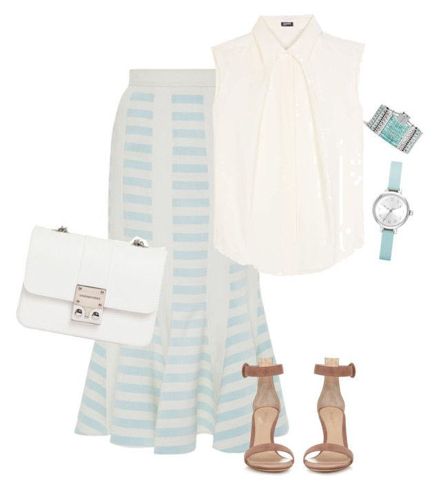 """Striped Skirt"" by toots2271 ❤ liked on Polyvore featuring Peter Pilotto, Jil Sander Navy, Gianvito Rossi, FOSSIL, Lucky Brand and Design Inverso"