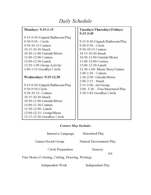 free classroom schedule download - includes ideas for centers #preschool #autism