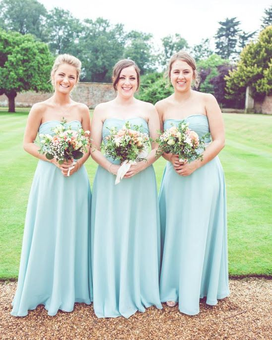 Check how stunning these bridesmaids look in the duck egg blue dresses, chiffon fabric with a ruched strapless dipped base bodice, matching full A-line skirt, love it. #BlueBridesmaidDresses