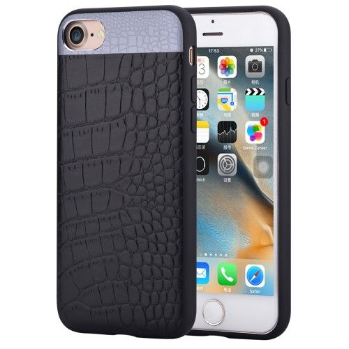COMMA for iPhone 7 4.7 Crocodile Texture Genuine Leather Coated PC TPU Hybrid Mobile Casing - Black
