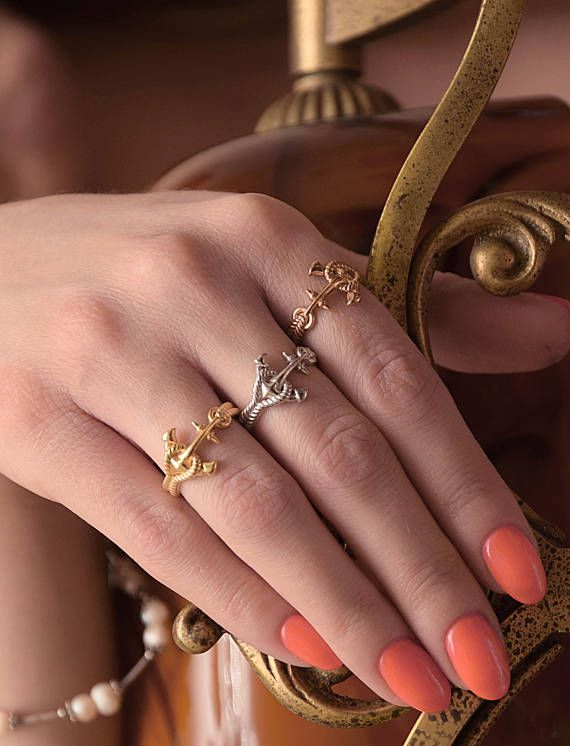 Anchor Gold Ring, 9k 14k 18k Gold Stacking Ring, Silver Rope Ring, Anchor Silver Ring - Knot gold ring, 3D Anchor Ring, Summer stacking ring