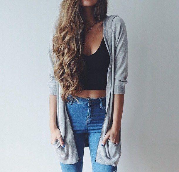 красота, чёрный, кардиган, кэжуал, наряд, мило, девушка, великолепно, серый, волосы, длинные волосы, приятное, стиль, стильные, лето, топ, волнистые волосы