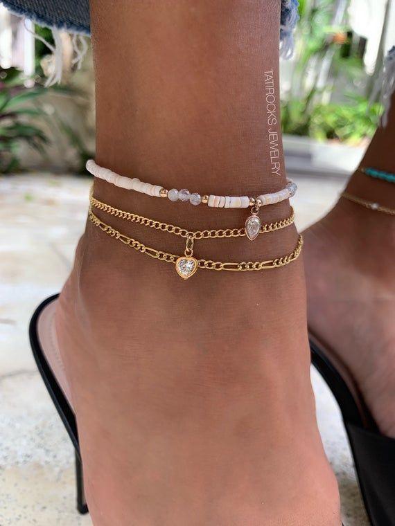 Moonstone Anklet Summer Jewelry Moonstone Jewelry for Women Shell Ankle Bracelet Anklet Shell
